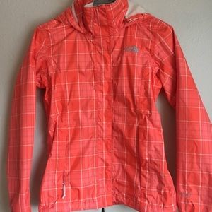 The North Face Coral Plaid Spring Raincoat Size XL